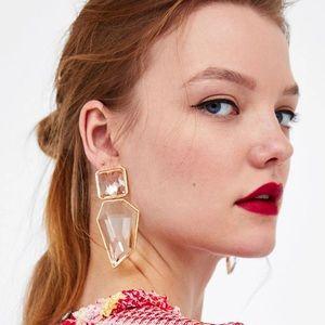 2/$35🖤 ZARA Clear Geometric Faceted Drop Earrings
